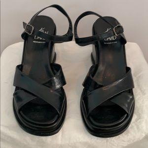 Joan & David too black wedge sandals